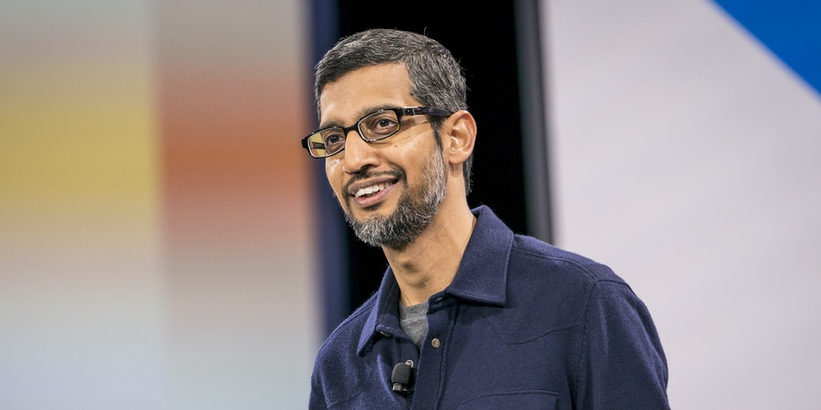 Sundar Pichai, chief executive officer of Google Inc., smiles during the company's Cloud Next '18 event in San Francisco, California, U.S., on Tuesday, July 24, 2018. The Cloud Next conference brings together industry experts to discuss the future of cloud computing. Photographer: David Paul Morris/Bloomberg via Getty Images