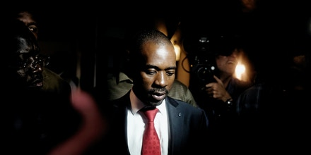 TOPSHOT - Zimbabwean opposition party Movement for Democratic Change (MDC) Alliance president Nelson Chamisa speaks to the press after a press conference in Harare, on August 2, 2018. - Soldiers and police clear the streets of Harare a day after a deadly crackdown on protestors. The Zimbabwe Election Commission is preparing to release results of the contested presidential election from 2000 GMT on August 2, 2018, a spokesman told AFP.