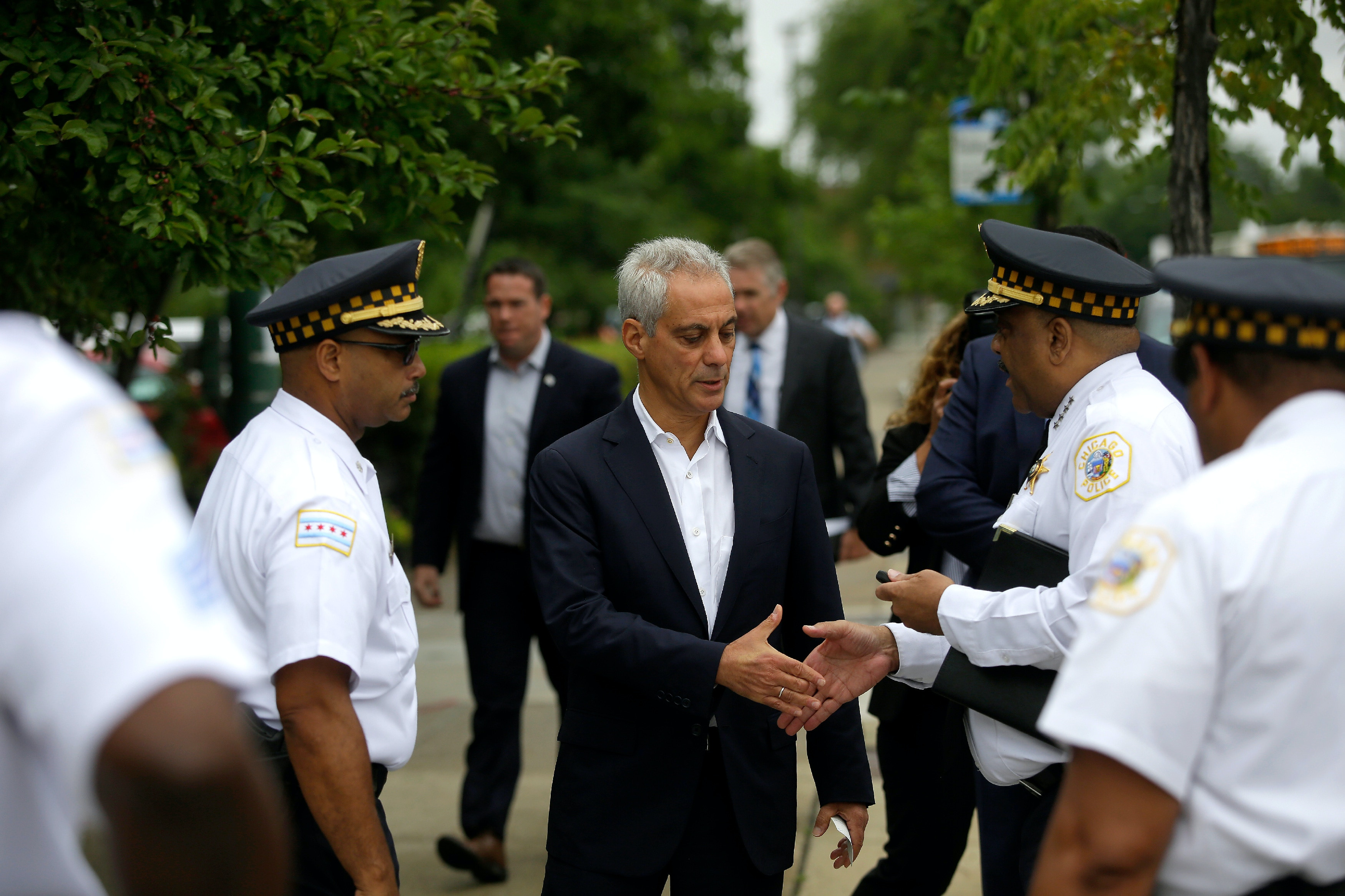 CHICAGO, IL - AUGUST 6 : Chicago Mayor Rahm Emanuel greets Chicago Police Superintendent Eddie Johnson before they spoke at a news conference to address reporters about Chicago's weekend of gun violence, Monday, August 6, 2018 in Chicago, Illinois. Chicago experienced one of it's most violent weekends of the year, after more then 70 people were shot, with 12 fatalities. (Photo by Joshua Lott/Getty Images)