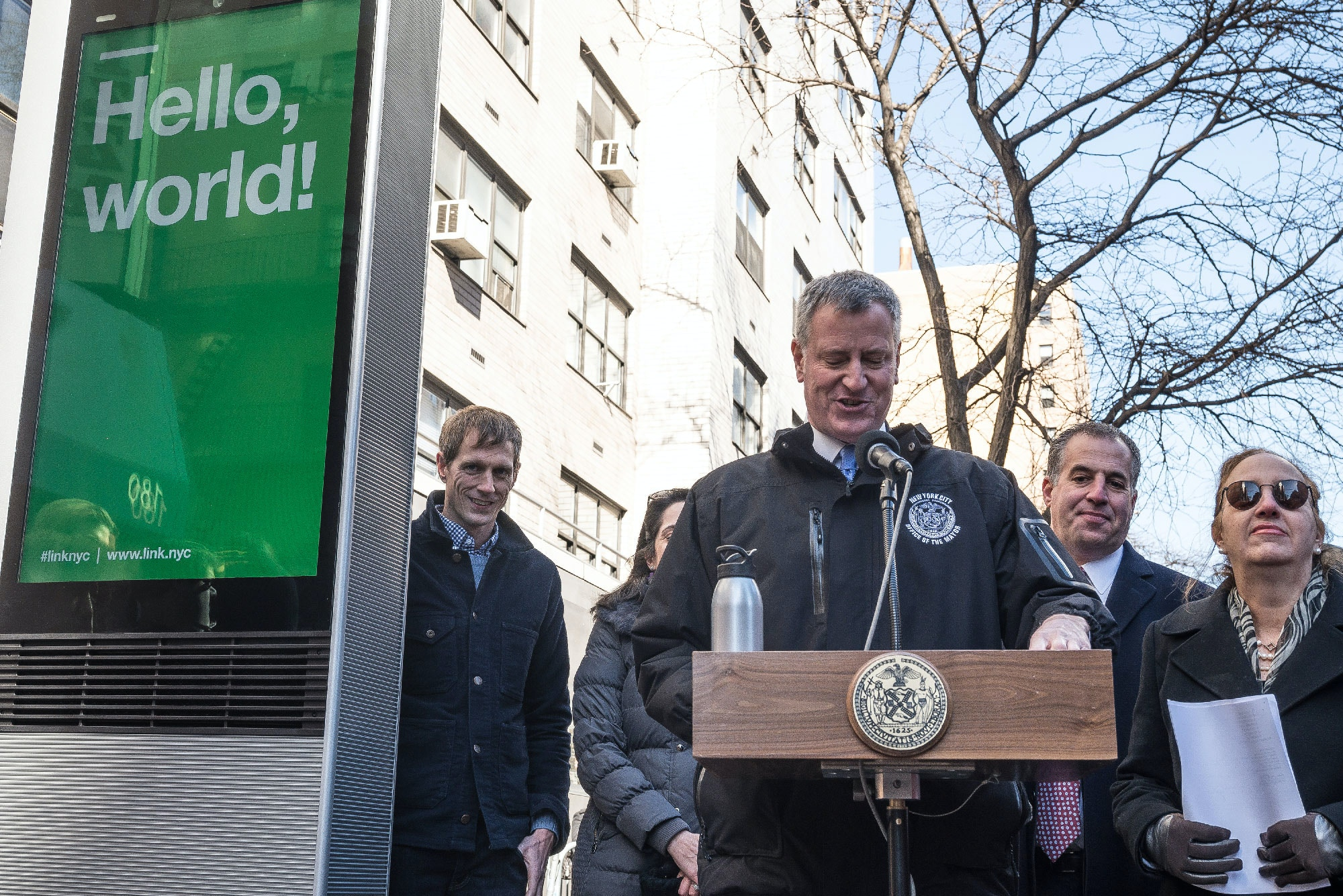 EAST 16TH STREET AT THIRD AVENUE, NEW YORK, NY, UNSPECIFIED - 2016/02/18: Mayor de Blasio speaks at the press conference next to the first of the kiosks in its beta form. Mayor Bill de Blasio announced the launch of the LinkNYC public WiFi and communications network that will be implemented throughout New York City with the unveiling of the first of 7500 terminal kiosks on Third Avenue at East 16th Street; and responded to questions from members of the press regarding the data that will be collected by the system, privacy concerns, and the potential use of the kiosks as surveillance devices. (Photo by Albin Lohr-Jones/Pacific Press/LightRocket via Getty Images)