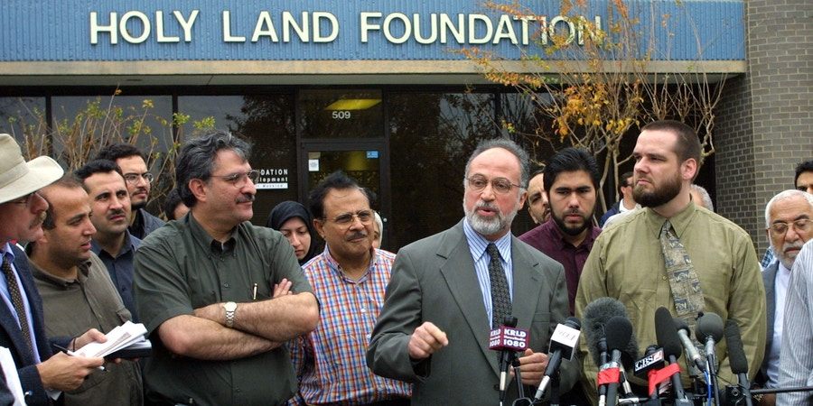 398211 01: Ghassan Elashi, CEO of the Holy Land Foundation speaks with the media December 5, 2001 during a press conference in Richardson, Texas. The Holy Land Foundation disputes claims made by the U.S. government that it used charitable donations to fund Hamas and their goal to destroy Israel. (Photo by Ronald Martinez/Getty Images)