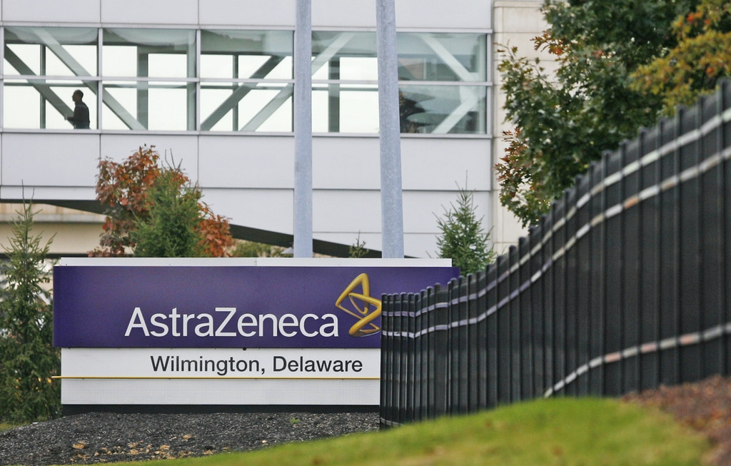 UNITED STATES - OCTOBER 26:  A view of the front entrance to the Astra Zeneca facility in Fairfax, near Wilmington, Delaware, on Thursday, October 26, 2006. GlaxoSmithKline Plc and AstraZeneca Plc, the U.K.'s two largest drugmakers, suffered setbacks with their most-advanced experimental treatments.  (Photo by Tim Shaffer/Bloomberg via Getty Images)