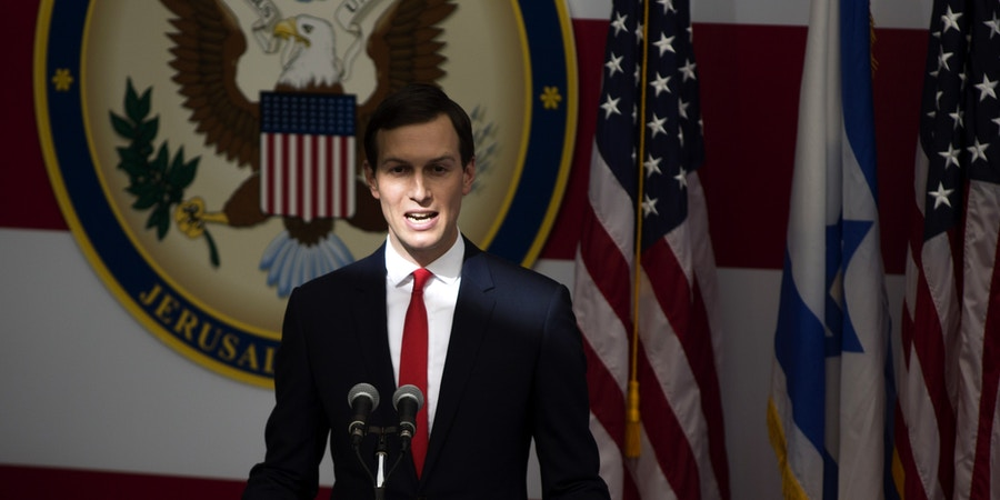 JERUSALEM, ISRAEL - MAY 14:  (ISRAEL OUT)  Senior White House Advisor Jared Kushner speaks on stage during the opening of the US embassy in Jerusalem on May 14, 2018 in Jerusalem, Israel. US President Donald J. Trump's administration officially transfered the ambassador's offices to the consulate building and temporarily use it as the new US Embassy in Jerusalem. Trump in December last year recognized Jerusalem as Israel's capital and announced an embassy move from Tel Aviv, prompting protests in the occupied Palestinian territories and several Muslim-majority countries.  (Photo by Lior Mizrahi/Getty Images,)