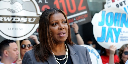 Public Advocate Letitia James outside John Jay College, 524 W 59 Street, Manhattan, speaking at a rally for Food Service Workers Justice.  Tuesday  May 8, 2018  (Photo by Andrew Savulich/NY Daily News via Getty Images)