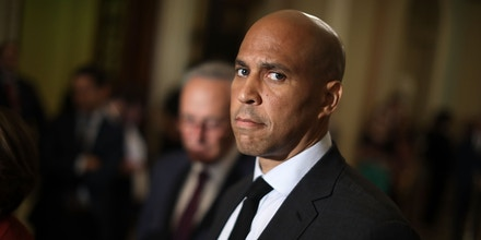 WASHINGTON, DC - JULY 10:  Sen. Cory Booker (D-NJ) talks with reporters following the weekly Democratic policy luncheon meeting at the U.S. Capitol July 10, 2018 in Washington, DC. Democrats are facing an uphill struggle to reject President Donald Trump's nominee to the Supreme Court, Judge Brett Kavanaugh.  (Photo by Chip Somodevilla/Getty Images)