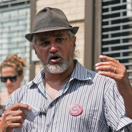 Ravi Ragbir, of the New Sanctuary Coalition, speaks at a press conference to spotlight the impact of the governments stalling tactics on immigrant families on July 11, 2018 in New York. (Photo by Don EMMERT / AFP)        (Photo credit should read DON EMMERT/AFP/Getty Images)