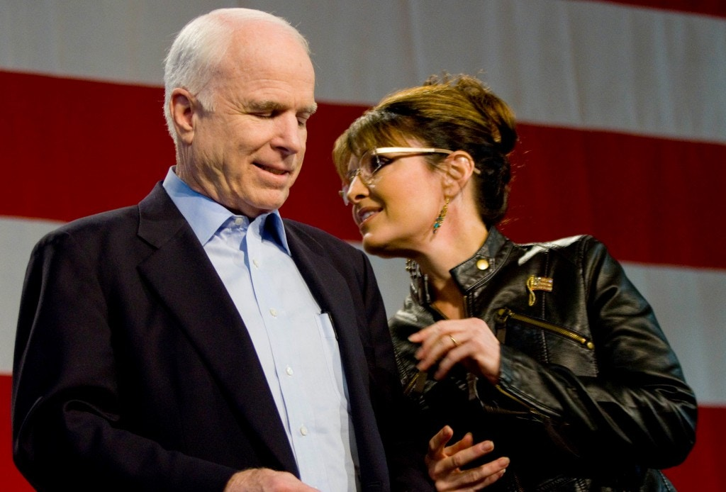 TUCSON, AZ - MARCH 26:  U.S. Sen. John McCain (R-AZ) and former Alaska Gov. Sarah Palin (L) attend a campaign rally at Pima County Fairgrounds on March 26, 2010 in Tucson, Arizona. Palin traveled to Arizona to stump for McCain, who is facing a primary challenge in his bid for a fifth term in the Senate. Today's event marked the first time the pair had campaigned together since their failed 2008 presidential run.  (Photo by Darren Hauck/Getty Images)