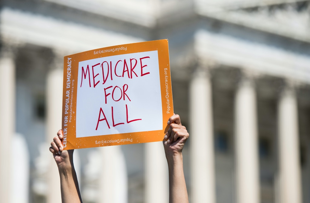 UNITED STATES - JULY 19: Progressive Democrats of America holds a news conference to announce the launch of a Medicare for All Caucus at the Capitol on Thursday, July 19, 2018. (Photo By Bill Clark/CQ Roll Call) (CQ Roll Call via AP Images)