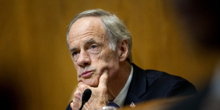 Senator Tom Carper, a Democrat from Delaware and ranking member of the Senate Environment and Public Works Committee, listens during a hearing in Washington, D.C., U.S., on Wednesday, May 3, 2017. The hearing is entitled Infrastructure Project Streamlining and Efficiency: Achieving Faster, Better and Cheaper Results. Photographer: Andrew Harrer/Bloomberg via Getty Images