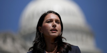 WASHINGTON, DC - JULY 18:  Rep. Tulsi Gabbard (D-HI) speaks at a press conference on House Resolution 922 outside the U.S. Capitol July 18, 2018 in Washington, DC. Gabbard and Rep. Walter Jones (R-NC) spoke on reclaiming