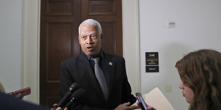 Rep. Hank Johnson, D-Ga., speaks after democrats from the Judiciary Committee met with Christopher Wylie, the Cambridge Analytica whistleblower, on Capitol Hill, Tuesday, April 24, 2018 in Washington. (AP Photo/Alex Brandon)