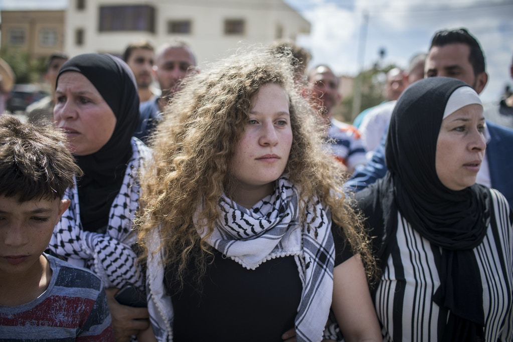 Ahed Tamimi arrives for a press conference, with her mother after her release from an Israeli prison on July 29, 2018 in Nabi Saleh, Palestine.