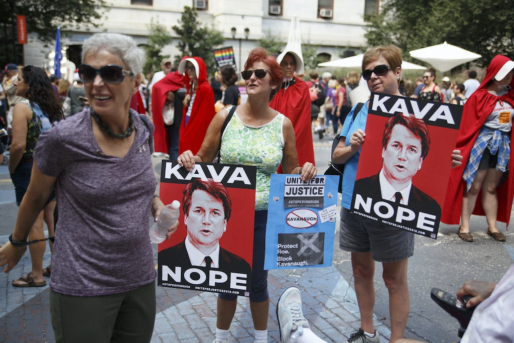 Demonstrators attend the Unite for Justice rally held in the courtyard of City Hall, organized by progressive activists to oppose the confirmation of President Trump's nominee for the Supreme Court, Brett Kavanaugh. (Photo by Michael Candelori / Pacific Press/Sipa USA)(Sipa via AP Images)
