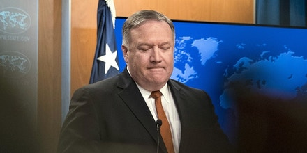 Secretary of State Mike Pompeo pauses as he speaks at a news conference at the State Department in Washington on Sept. 14, 2018.