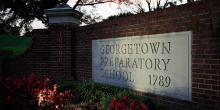 The entrance to the Georgetown Preparatory School Bethesda, Md., is shown, Wednesday, Sept. 19, 2018. Mark Judge spent decades mining his recollections and writing books and articles full of semi-confessional details about the suburban Maryland prep school he attended with future Supreme Court nominee Brett Kavanaugh. Now, though, Judge's memory has drawn a blank. (AP Photo/Manuel Balce Ceneta)