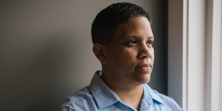 Kerri Evelyn Harris, Democratic candidate for the United States Senate from Delaware, stands for a portrait after a round table discussion concerning state infrastructure and environmental justice with Delaware residents in Lewes, Delaware on Saturday, July 21, 2018. Harris, a former community organizer and Air Force veteran, is campaigning on issues such as Medicare-For-All, environmental justice, higher minimum wage, expanding LGBTQ rights, and pre-K for all.(Michelle Gustafson for The Intercept)