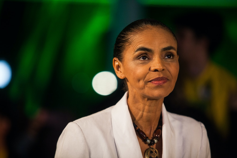 SAO PAULO, BRAZIL - OCTOBER 5: Brazilian candidate for President Marina Silva speaks during a press conference at the Brazilian Socialist Party on October 5, 2014 in Sao Paulo, Brazil. Marina Silva had 21% of the votes and will not move to the second round against the current President of the Republic, Dilma Rousseff and Aecio Neves. (Photos by Victor Moriyama/Getty Images)