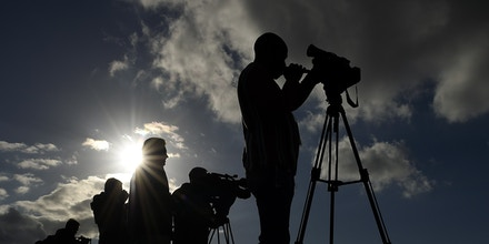 Journalists film during a South Africa training session at the Surrey Sports Park on Oct. 28, 2015, in Guildford, England.ahead of their 2015 Rugby Union World Cup bronze medal match against Argentina on October 30. AFP PHOTO / FRANCK FIFERESTRICTED TO EDITORIAL USE (Photo credit should read FRANCK FIFE/AFP/Getty Images)