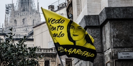 The celebration of the funeral Lea Garofalo in Piazza Beccaria in Milan. Lea Garofalo, witness to justice, killed by the 'Ndrangheta in 2009. Photo: Marco Aprile/NurPhoto (Photo by NurPhoto/Corbis via Getty Images)