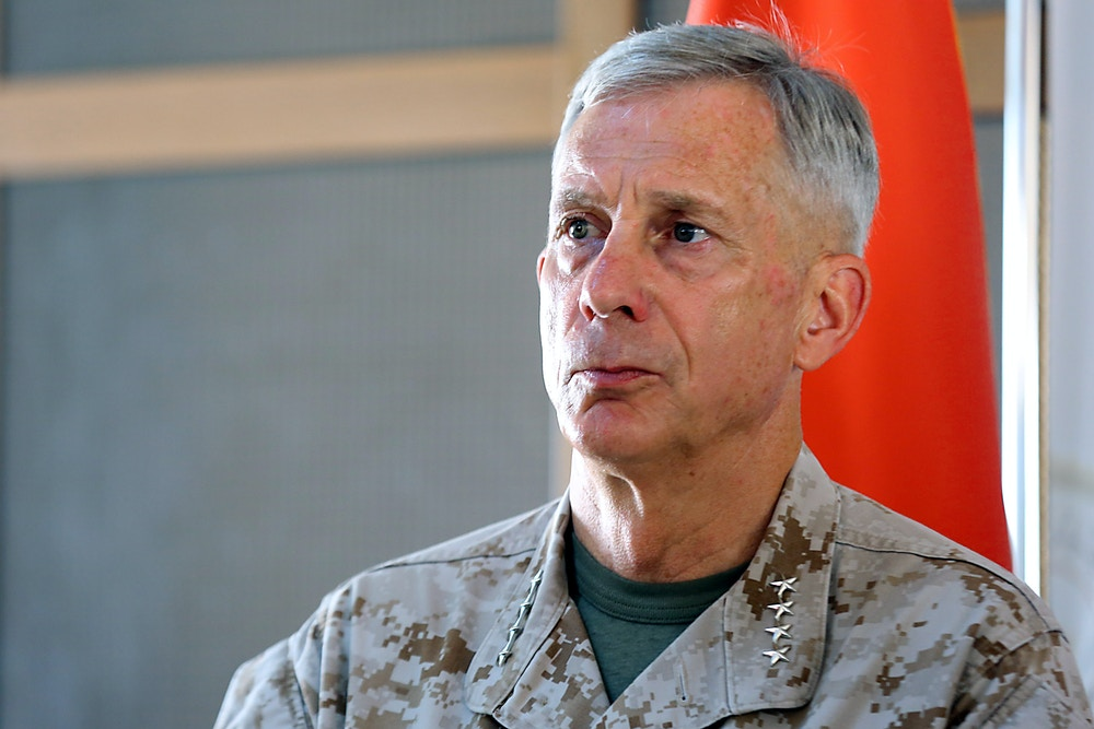 Commander of US forces in Africa (AFRICOM) General Tom Waldhauser attends a press conference after a security meeting with the National Reconciliation Government in the Libyan capital Tripoli on May 31, 2018. (Photo by STRINGER / AFP)        (Photo credit should read STRINGER/AFP/Getty Images)