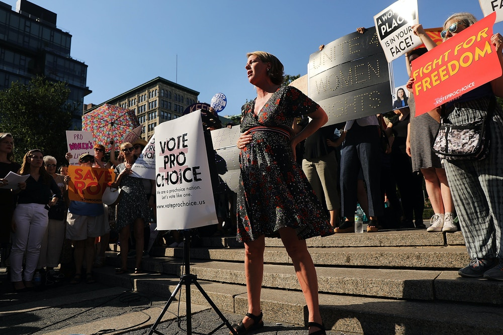New York Democratic attorney general candidate Zephyr Teachout joins local politicians, activists and others participating in a protest in Union Square in support of Row v. Wade and to denounce President Donald Trump's selection of Brett Kavanaugh as his nomination to the Supreme Court on July 10, 2018 in New York City, N.Y. Photo: Spencer Platt/Getty