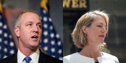 Rep. Sean Patrick Maloney, D-NY, left, speaks at a press conference on Capitol Hill May 2, 2017, in Washington, D.C. Zephyr Teachout, right, candidate for New York Attorney General, arrives for a press conference outside of Trump Tower in Manhattan, August 8, 2018, in New York City.