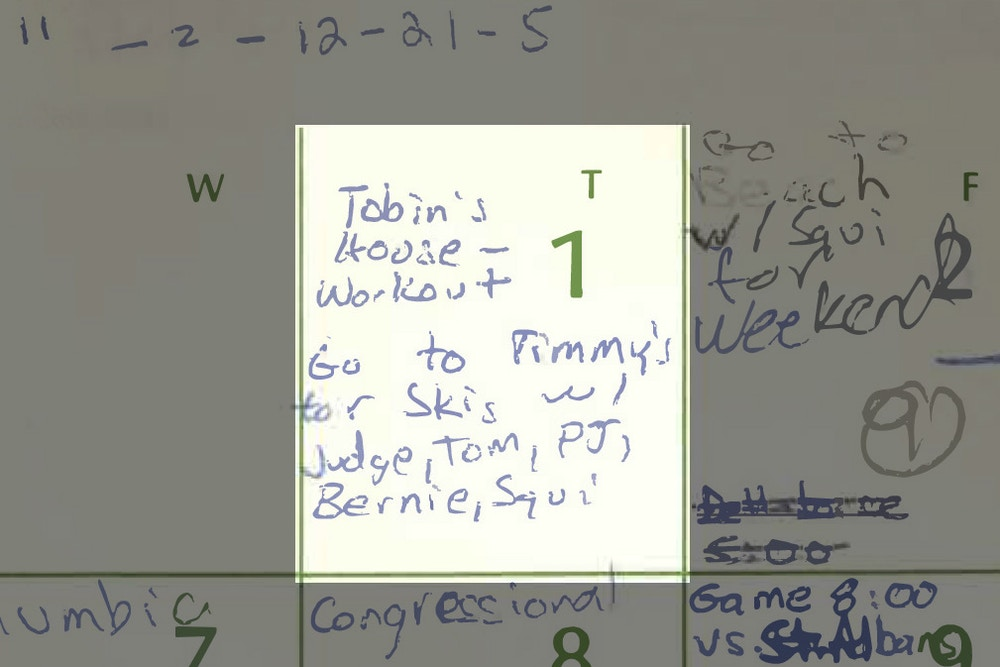 In an image released by the Senate Judiciary Committee, a page from a calendar Brett Kavanaugh kept in 1982. The annotations complicate Kavanaugh's self-drawn portrait of a diligent student obsessed mainly with sports and reaching the top of his class. (Senate Judiciary Committee via The New York Times)  -- FOR EDITORIAL USE ONLY --