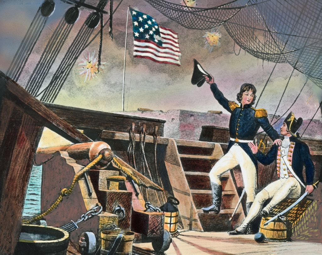 Francis Scott Key observes the bombardment and the U.S. flag over Fort McHenry.
