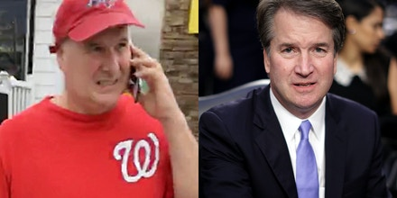 Left: Mark Judge is outside a friends home in the seaside holiday village in south east Delaware on Sept. 24, 2018. Right: Brett Kavanaugh prepares to testify before the Senate Judiciary Committee on Sept. 6, 2018.