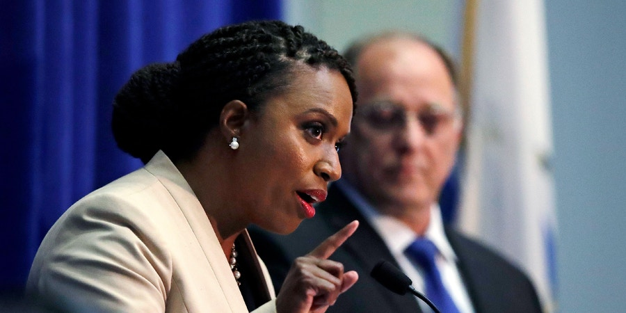 Boston City Councilor Ayanna Pressley, who is challenging U.S. Rep. Michael Capuano, D-Mass., gestures during a debate at the University of Massachusetts, in Boston, Tuesday, Aug. 7, 2018. (AP Photo/Charles Krupa)
