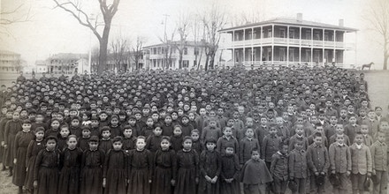The entire student body of the Carlisle Indian School in 1892.