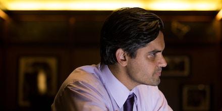 Sri Preston Kulkarni during an interview at Bar Louie in Sugar Land, Texas.