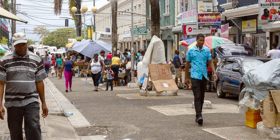 Downtown Montego Bay, photographed on May 18, 2018, is considered to be the locus of scamming in this area.