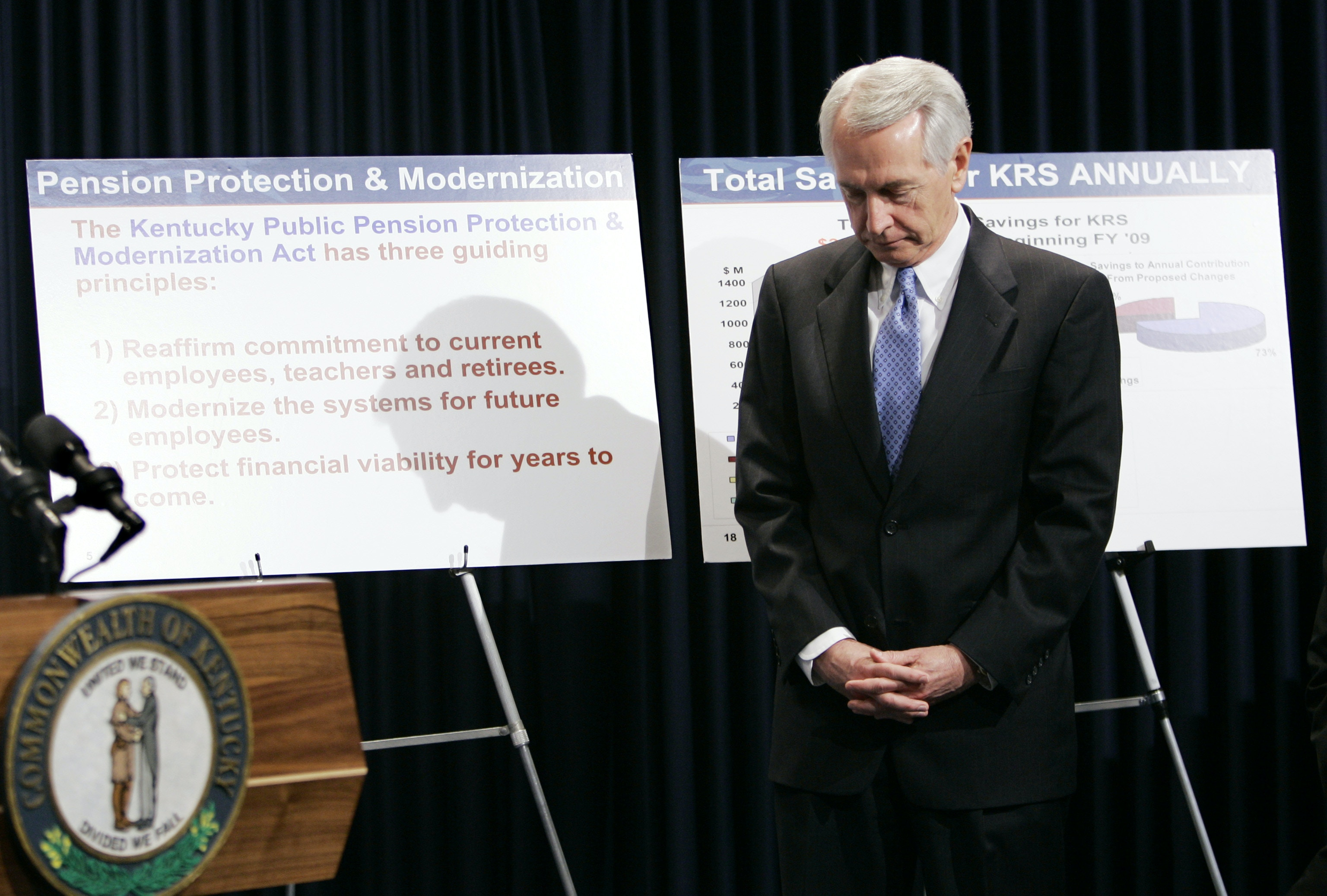 Gov. Steve Beshear stands in front of graphics during a news conference to announce his plan to reform the state's pension system, in Frankfort, Ky., Thursday, Feb. 21, 2008. (AP Photo/Ed Reinke)
