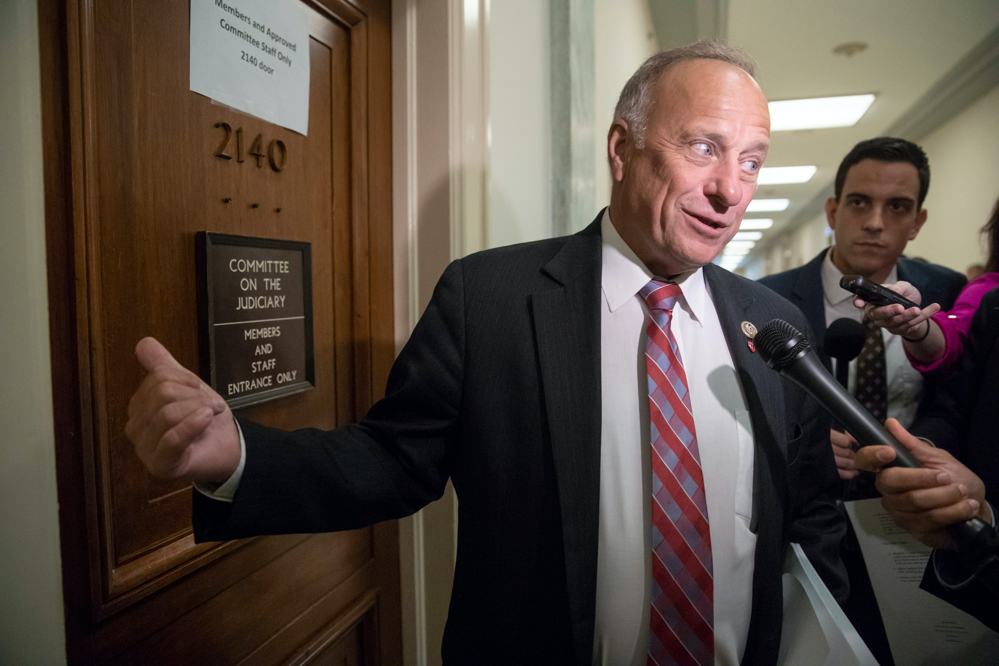 Rep. Steve King, R-Iowa, a member of the House Judiciary Committee, arrives for a closed-door interview with Peter Strzok, the FBI agent facing criticism following a series of anti-Trump text messages, on Capitol Hill in Washington, Wednesday, June 27, 2018. (AP Photo/J. Scott Applewhite)