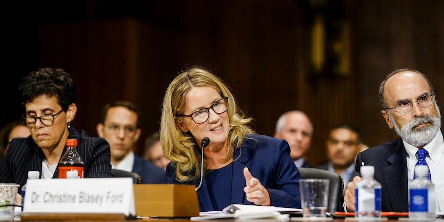 Christine Blasey Ford testifies at a Senate Judiciary Committee hearing on Thursday, Sept. 27, 2018 on Capitol Hill. (Melina Mara/Pool/The Washington Post)