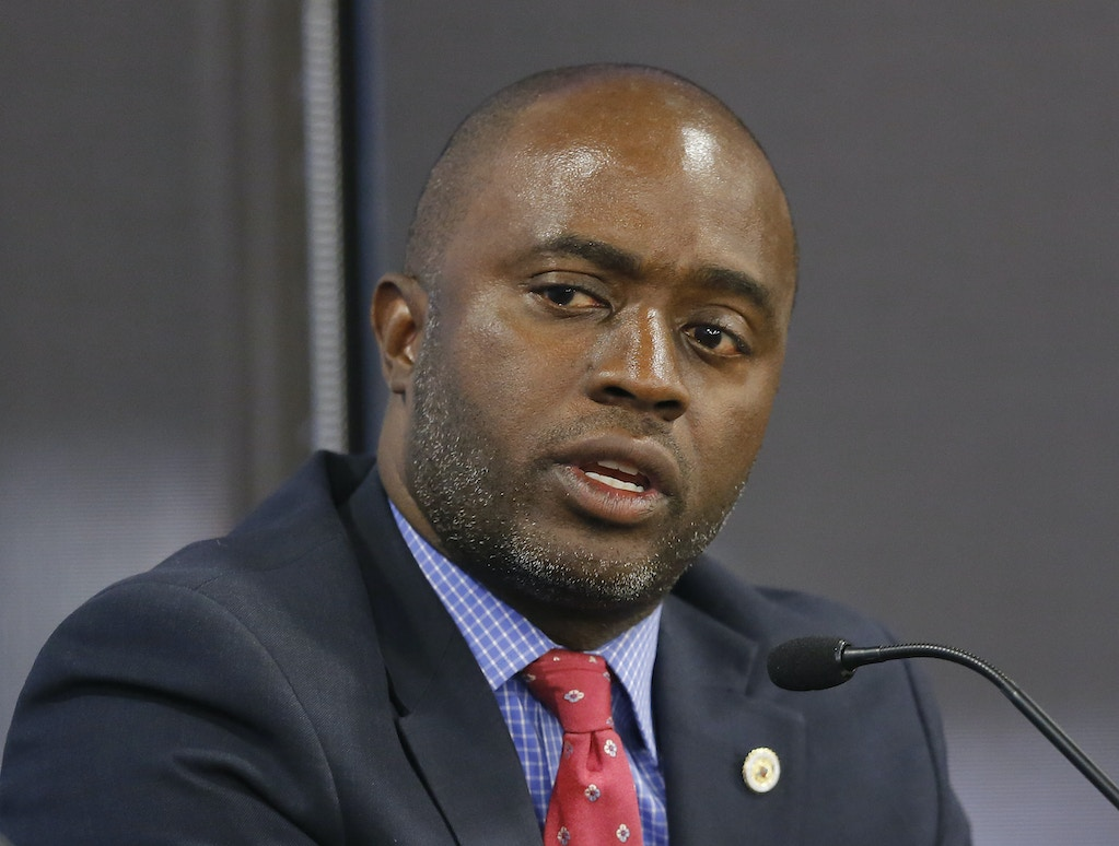 In this photo taken Tuesday, Sept. 11, 2018, Assemblyman Tony Thurmond, D-Richmond, a candidate for Superintendent of Public Instruction, appears at a candidates debate hosted by the Sacramento Press Club in Sacramento, Calif. Thurmond is running against Marshall Tuck, a former charter schools executive. (AP Photo/Rich Pedroncelli)