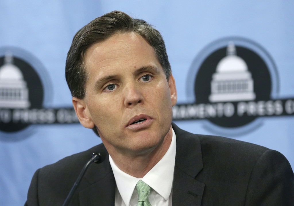 In this photo taken Tuesday, Sept. 11, 2018, Marshall Tuck, a former charters schools executive who is a candidate for Superintendent of Public Instruction, appears at a candidates debate hosted by the Sacramento Press Club in Sacramento, Calif. Tuck is running against Assemblyman Tony Thurmond, D-Richmond. (AP Photo/Rich Pedroncelli)