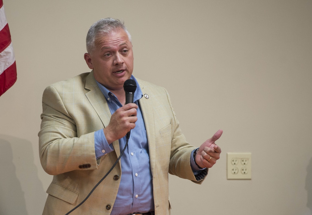 Denver Riggleman, a Republican candidate for Virginia's 5th District, speaks during a forum at the Lynchburg Regional Business Alliance in Lynchburg, Va., Monday, Oct. 22, 2018. (Taylor Irby/The News & Advance via AP)