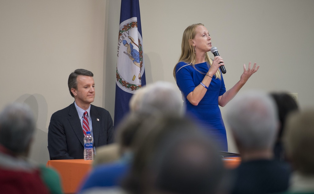 Jennifer Lewis, a Democratic candidate for Virginia's 6th Congressional District, speaks during a forum at the Lynchburg Regional Business Alliance in Lynchburg, Va., Monday, Oct. 22, 2018. (Taylor Irby/The News & Advance via AP)