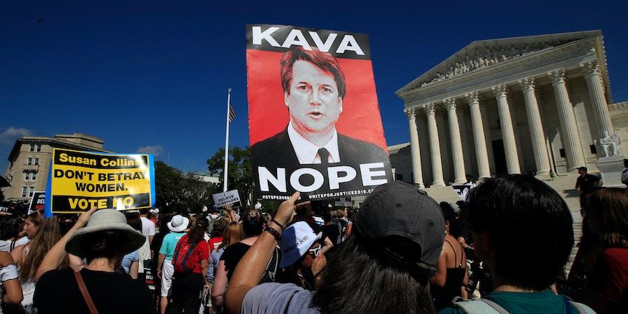 Protesters against Supreme Court nominee Brett Kavanaugh demonstrate outside the Supreme Court in Washington, Thursday, Oct. 4, 2018. (AP Photo/Manuel Balce Ceneta)