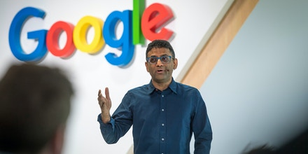 Ben Gomes, head of search for Google Inc., speaks during a 20th anniversary event in San Francisco, California, U.S., on Monday, Sept. 24, 2018. The search giant announced a raft of new features at an event celebrating its 20th anniversary. A Facebook-like newsfeed populated with videos and articles the company thinks an individual user would find interesting will now show up on the Google home page just below the search bar on all mobile web browsers. Photographer: David Paul Morris/Bloomberg via Getty Images