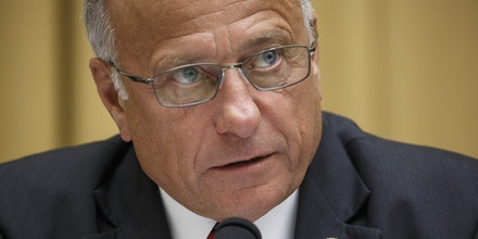 Representative Steve King, a Republican from Iowa, speaks during a House Judiciary Committee on social media filtering practices in Washington, D.C., U.S., on Tuesday, July 17, 2018. The hearing will give Democrats a chance to lambaste comments made by President Donald Trump after the summit meeting in Helsinki with Russian President Vladimir Putin. Photographer: Joshua Roberts/Bloomberg via Getty Images