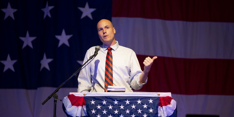 J.D. Scholten, a Democrat from Iowa and U.S. Representatives candidate, speaks during the Democratic Wing Ding event in Clear Lake, Iowa, U.S., on Friday, Aug. 10, 2018. The event in its 15th year of operation is a Democratic fundraiser that benefits participating county parties. Photographer: Daniel Acker/Bloomberg via Getty Images