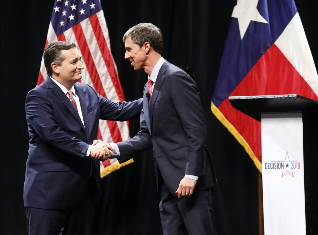 DALLAS, TX - SEPTEMBER 21: Sen. Ted Cruz (R-TX) and Rep. Beto O'Rourke (D-TX) shake hands after a debate at McFarlin Auditorium at SMU on September 21, 2018 in Dallas, Texas. (Photo by Tom Fox-Pool/Getty Images)