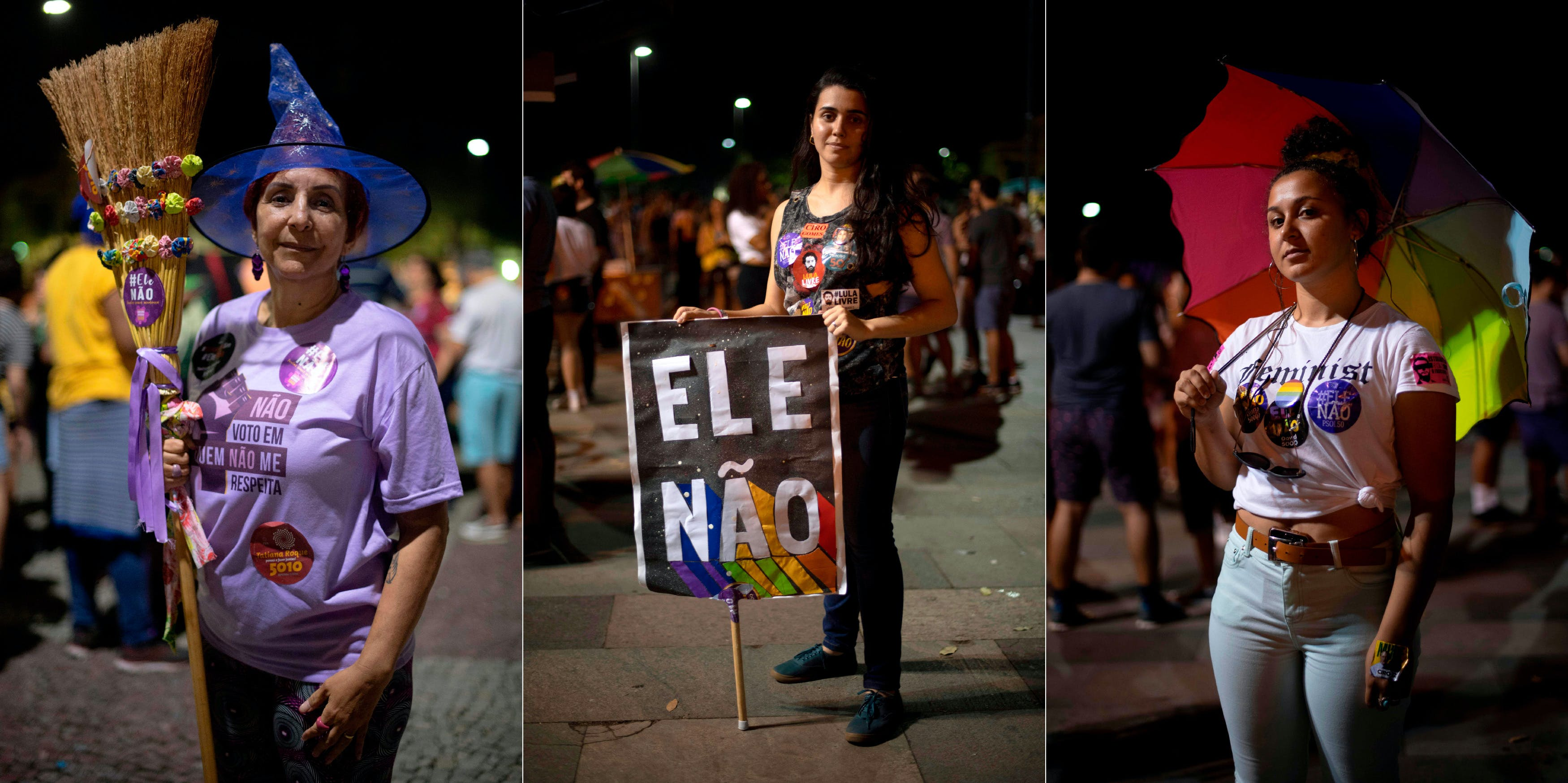 """Combo picture of Brazilian university professor Regina Dantas (L), 56, journalist Barbara Christie, 25, and biomedical technician Adriana Ribeiro (R), 25, posing for a portrait during a demonstration against Brazilian right-wing presidential candidate Jair Bolsonaro called by a social media campaign under the hashtag #EleNao (Not Him), in Rio de Janeiro, Brazil, on September 29, 2018. - AFP asked Dantas, Christie and Ribeiro why """"not him"""". Their respective answers were: """"Not him because we will lose our achievments related to feminist struggles,"""" """"Not him because he is sexist, misogynist and homophobic"""" and """"Not him because he does not represent who I am, a lesbian and a woman."""" (Photo by Mauro Pimentel / AFP) (Photo credit should read MAURO PIMENTEL/AFP/Getty Images)"""