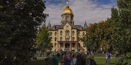 SOUTH BEND, IN - SEPTEMBER 29: General view of the Main Administration Building and Golden Dome are seen on the campus of Notre Dame University before the Notre Dame Fighting Irish versus Stanford Cardinal game at Notre Dame Stadium on September 29, 2018 in South Bend, Indiana. (Photo by Michael Hickey/Getty Images)
