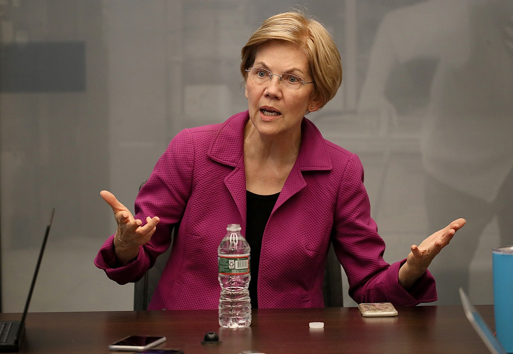 BOSTON, MA - OCTOBER 16: U.S. Senator Elizabeth Warren speaks to the Boston Globe's editorial board at the newspaper's office in Boston on Oct. 16, 2018. (Photo by Suzanne Kreiter/The Boston Globe via Getty Images)