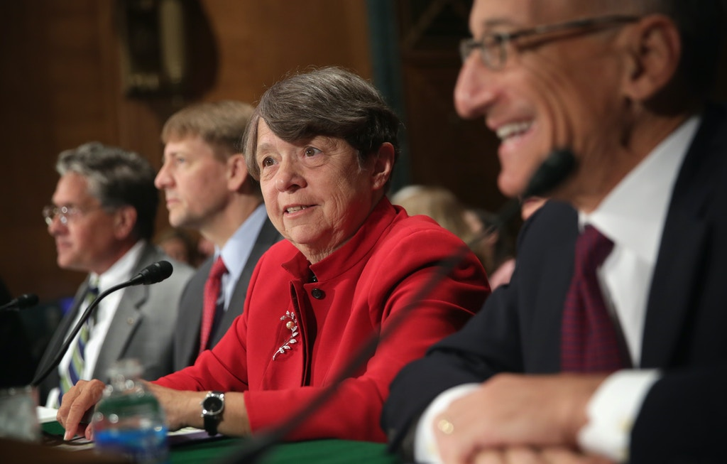 "WASHINGTON, DC - SEPTEMBER 09:  (L-R) Comptroller of the Currency Thomas Curry, Consumer Financial Protection Bureau Director Richard Cordray, Chair of the Securities and Exchange Commission Mary Jo White, Chairman of the Commodity Futures Trading Commission Timothy Massad testify during a hearing before Senate Banking, Housing and Urban Affairs Committee September 9, 2014 on Capitol Hill in Washington, DC. The committee held a hearing on ""Wall Street Reform: Assessing and Enhancing the Financial Regulatory System.""   (Photo by Alex Wong/Getty Images)"