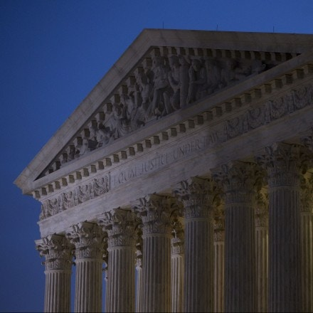 WASHINGTON, DC - FEBRUARY 19: A general view of the U.S. Supreme Court where a private memorial service will be held for Justice Antonin Scalia at the court building on February 19, 2016 in Washington, DC. Justice Scalia will then lie in repose in the Great Hall of the high court where visitors will pay their respects. (Drew Angerer/Getty Images)